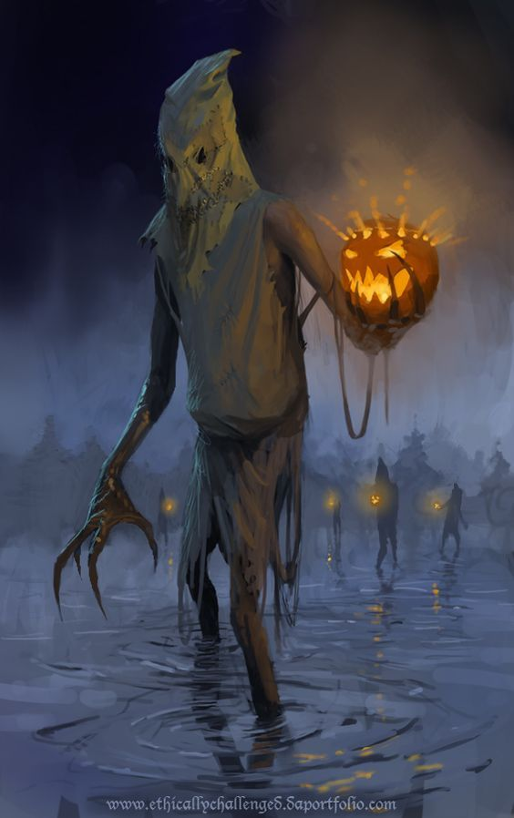 "Creepy, jack-o-lantern carrying swamp things in ""Swamp lanterns"" by EthicallyChallenged.deviantart ~ Halloween"