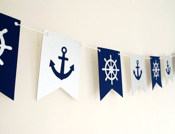 Nautical theme garland with anchors. Navy and Silver, 5ft by BluefinWorks, $18.00  A cute decoration for a baby shower or birthday party Great for nautical, sailboat or boat themed parties!