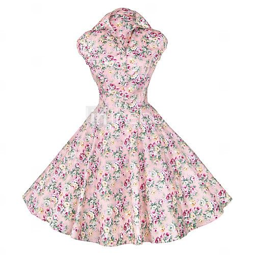 Maggie Tang Women's 50s Vintage Floral Rockabilly Hepburn Pinup Cos Party Swing Dress 512 - USD $36.99