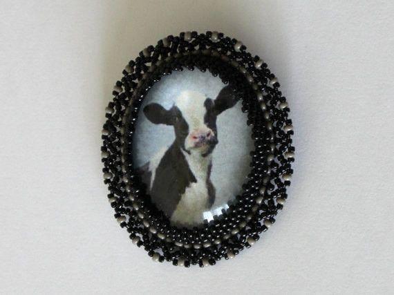 Ansteckbroschen - Holstein Kuh Brosche - ein Designerstück von SalixCinerea bei DaWanda