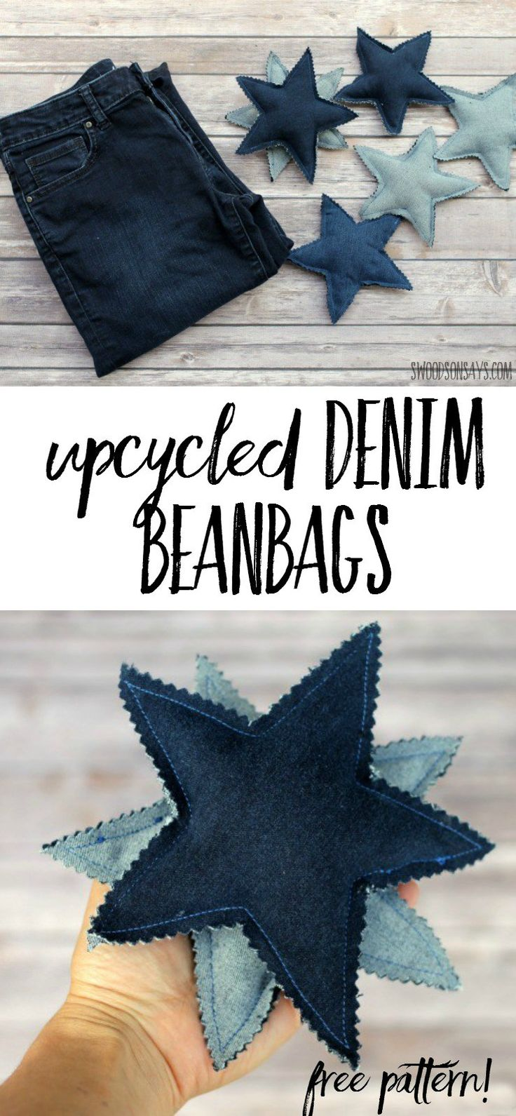 Use this easy upcycling tutorial to make denim beanbags! Stars are fun to catch and easy to throw - upcycled bluejean toy ideas are a great handmade toy. My kids love playing with these!