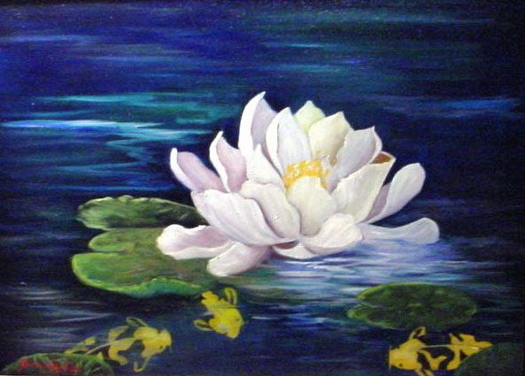 Artists Of Texas Contemporary Paintings and Art - Koi Fish and White Lotus Flower | Barbara Haviland