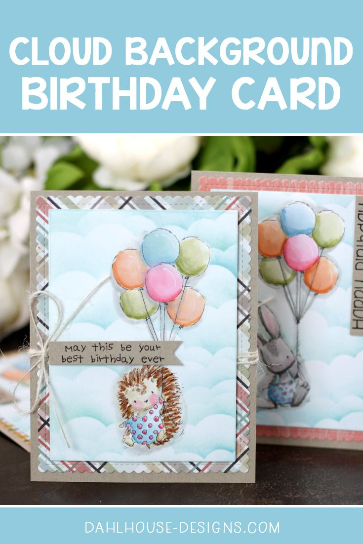 Watercolor Birthday Card with a Cloud Background + Video