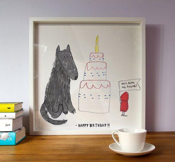 Happy birthday prints Happy birthday poster Gift by illustation