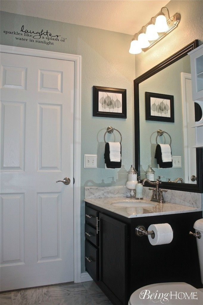 Friday Link Party And Features Bathroom Light Blue And Mirror - Light blue bathroom decor for small bathroom ideas