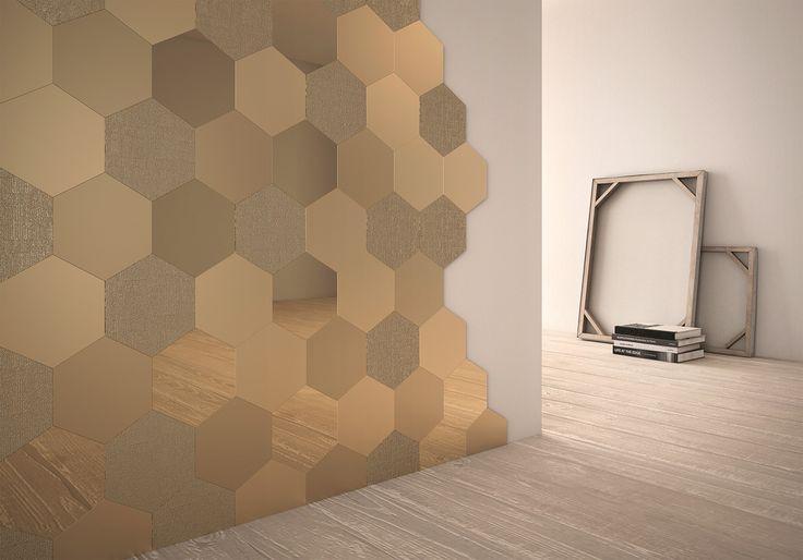 Настенная плитка Geom Gold Text 18x20