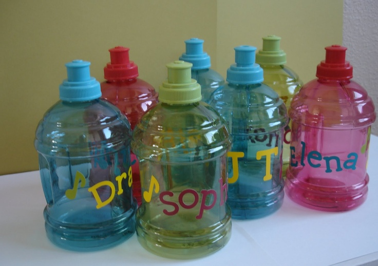 decorated water bottles Stick on letters?