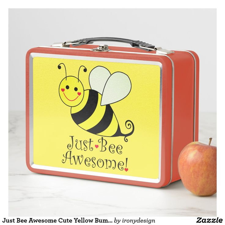 Just Bee Awesome Cute Yellow Bumble Metal Lunch Box