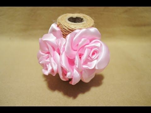 DIY Kanzashi Rose on an elastic band - Роза на резинке. Мастер-класс. - YouTube