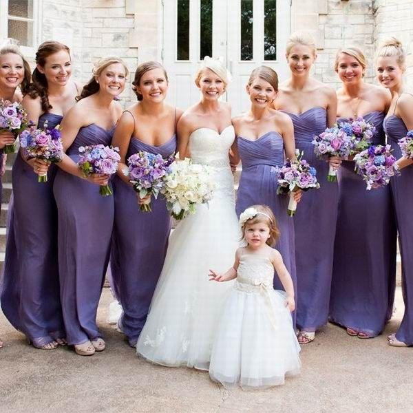 long purple empire bridesmadi dresses