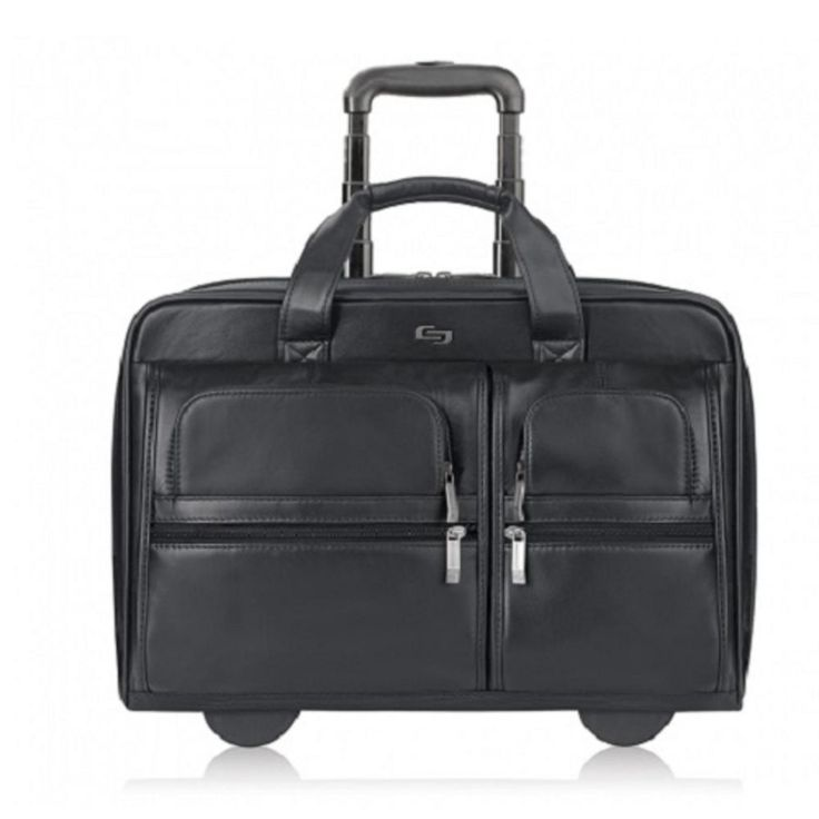 Solo D957-4 Leather Classic Rolling Laptop Case w-Telescoping Handle - Fits up to 15.6 (Black)