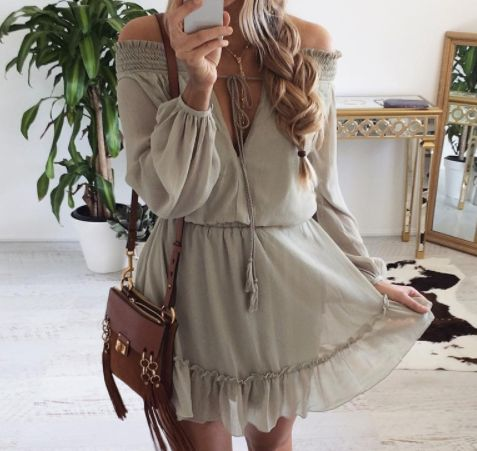 - Olive Chiffon Lace Dress - Beautiful, comfortable, and feminine flow - Features lace and front-facing tie - Available in Olive - Available in three sizes - Please allow 2-3 weeks for delivery due to