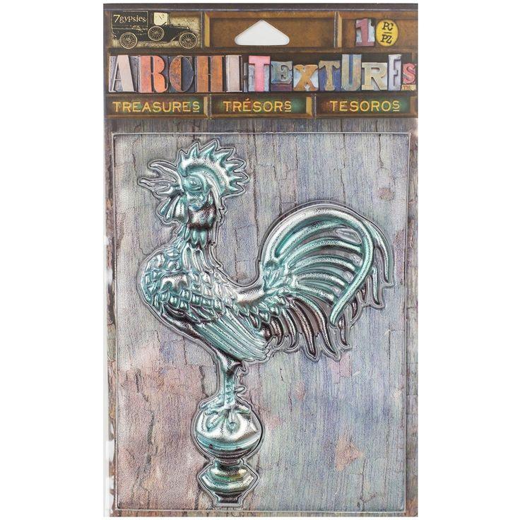 "Canvas Corp 7 Gypsies Architextures Treasures Adhesive Embellishments-We - weathered patina metal rooster 4"" weathered patina metal rooster 4"""