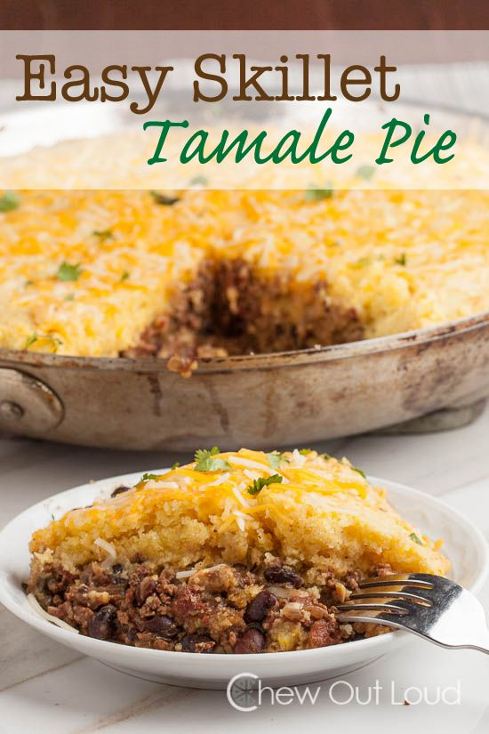 This easy and delicious Skillet Tamale Pie is an absolute family favorite. Comes together in 30 minutes. Scrumptious filling topped with tender cornbread.
