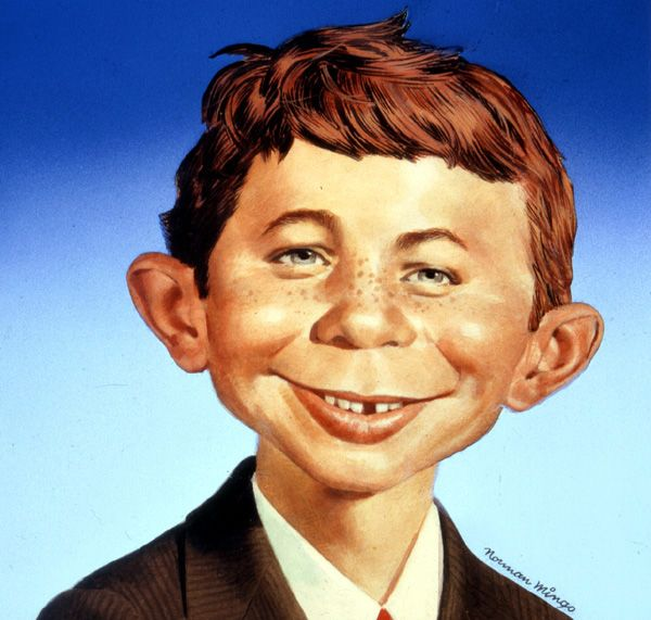 """The long and tangled history of Alfred E. Neuman.Norman Mingo's canonical Neuman.In a 1975 interview with theNew York Times, MAD Magazine founder Harvey Kurtzman recalled an illustration of a grinning boy he'd spotted on a postcard in the early fifties: a """"bumpkin portrait,"""" """"part leering wiseacre, part happy-go-lucky kid."""" It was captioned """"What, Me Worry?""""That... <a href=""""http://www.theparisreview.org/blog/2016/03/03/a-boy-with-no-birthday-turns-sixty/"""">Read More</a> <span…"""