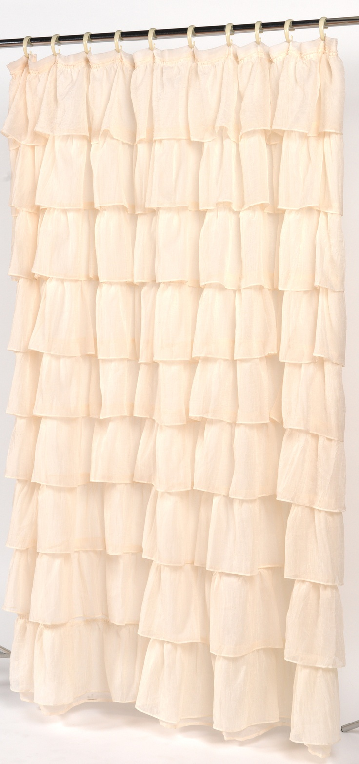 Diy ruffled shower curtain - Rodemack Voile Ruffled Tier Shower Curtain