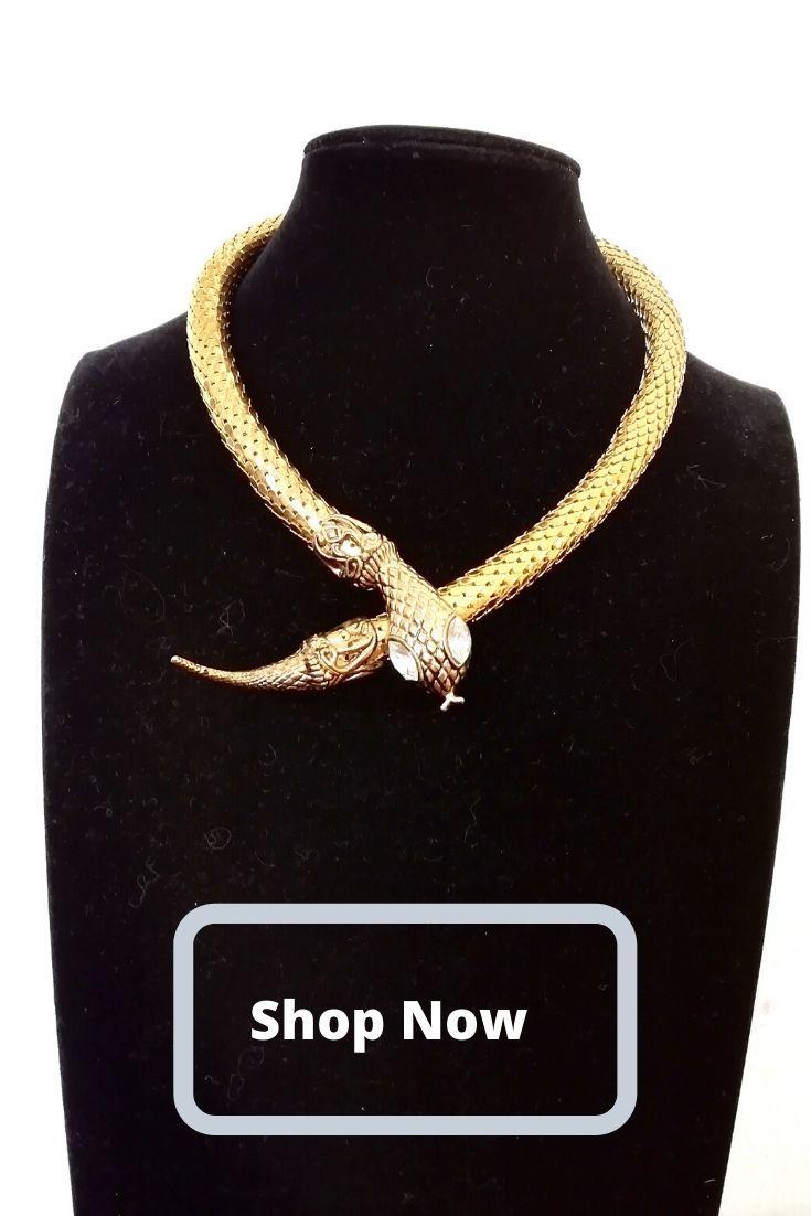 80s SNAKE Choker, 16 inch choker necklace, statement 1980s