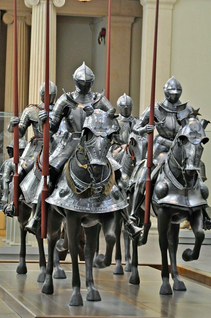 (left) Armor for man and horse by Kunz Lochner, Nuremberg, 1548. Horse armor belonged to Johann Ernst, Duke of Saxony; man's armor is associated.