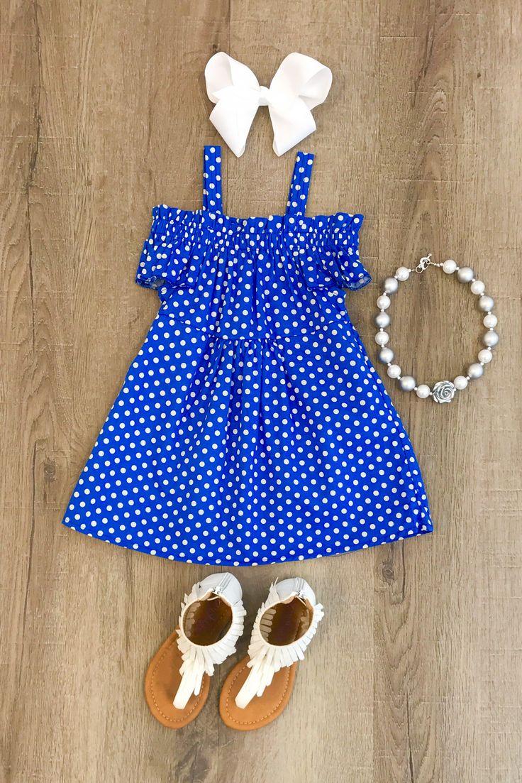 Royal Blue Polka Dot Off-Shoulder Dress