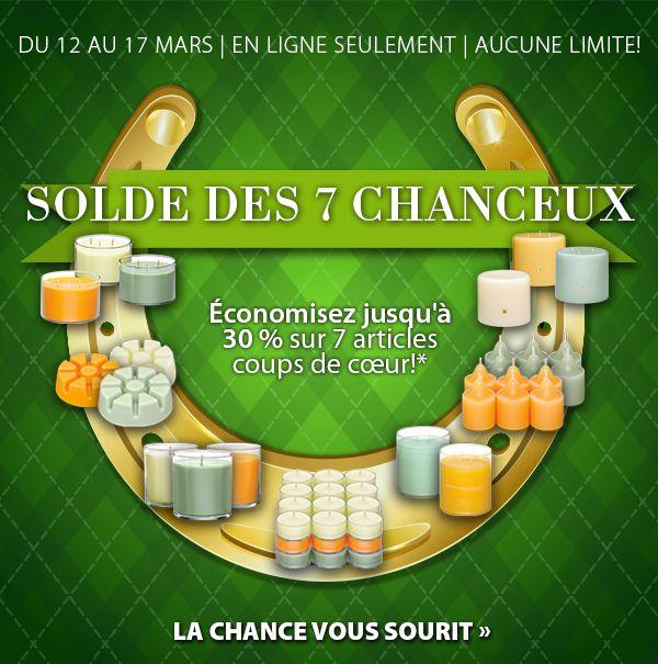 La promotion des 7 CHANCEUX   du weekend de la ST Patrick  rendez vous sur ma boutique en ligne pour en profiter  et contacter moi avant de soumettre j'aurai une surprise pour vous! www.partylite.biz/marcelrobidoux