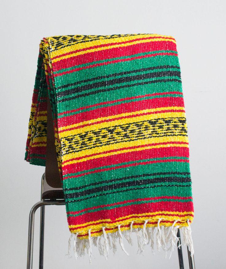 Manta mexicana Rasta 420 manta de Yoga verde & naranja tiro Azteca tejido a mano