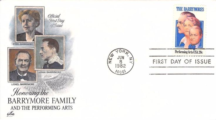 1982 The Barrymores Hand Colored Art Craft First Day Cover