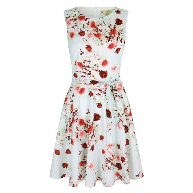 Robe habillée motif roses YUMI | La Redoute Mobile