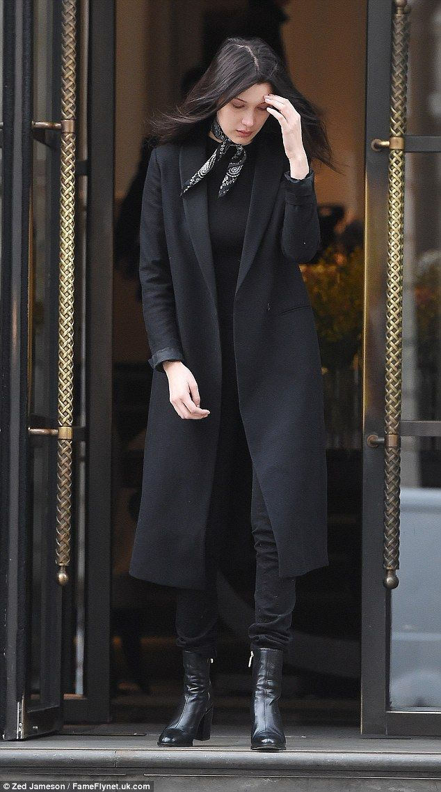Every day's a catwalk: Bella Hadid, 19, looked super chic in head-to-toe black as she left...
