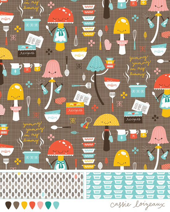 Mushroom and Pyrex vintage kitchen bolt fabric assignment- Cassie Loizeaux