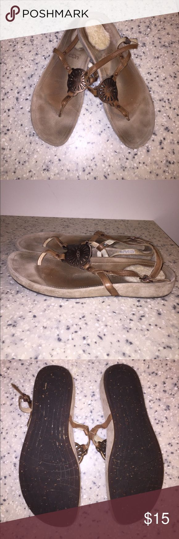 Ugg slingback sandals in bronze Beautiful slingback sandal flats from Uggs! Very comfy. Fur heel detail. Some wear. Minimal sole damage. Still a lot of life left in these shoes! Only worn for 1 summer season 4 years ago. UGG Shoes Sandals