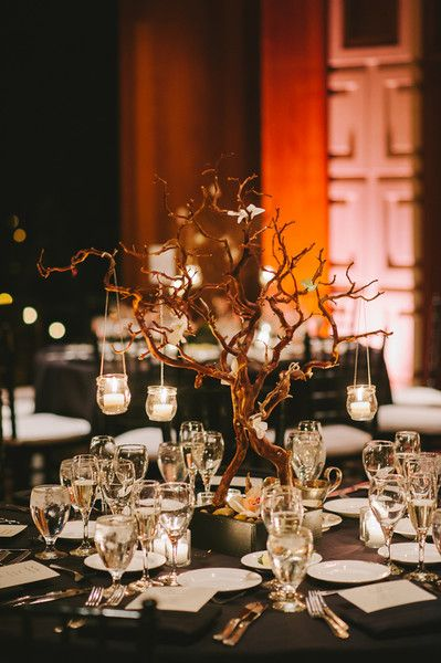 We love this centerpiece idea for a wedding in the fall! {Luminaire Images}