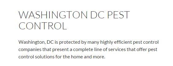 Washington DC Pest Control   DC Pest Control