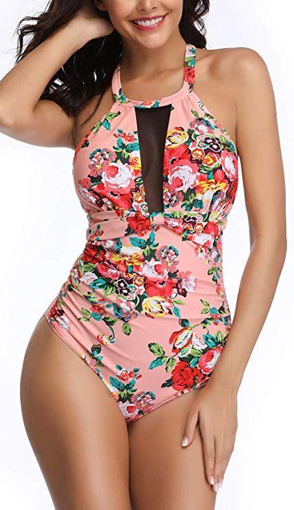 593bb51adc3 Amazon.com: Eomenie Womens One Piece Swimsuits Tummy Control Swimwear  Flattering High Waisted Monokini