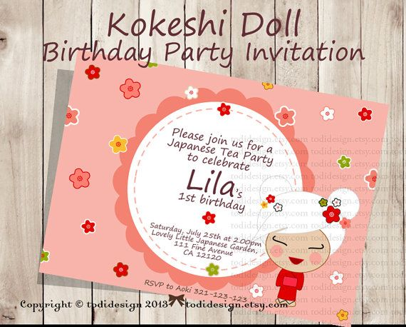 93 best Party - Japanese Tea Party images on Pinterest Biscuit - fresh birthday party invitation in japanese