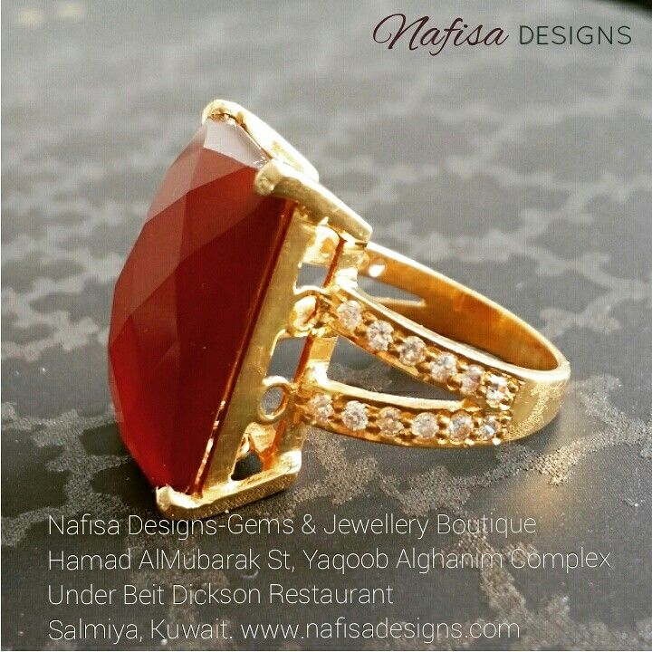 Custom made Natural Akeek Ring made in 21 kt gold by Nafisa Designs. www.nafisadesigns.com  @nafisadesigns  @nafisadesigns  @nafisadesigns  #2015 #jewelrydesigner #custommade #gemstone #akeekring #goldjewellery #instakuwait #NafisaDesigns #Kuwait