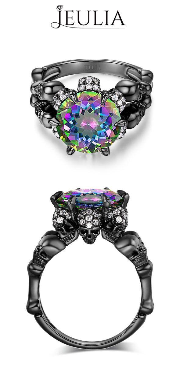 Jeulia Design Sterling Silver Four-Skull Style Women's Ring #jeulia