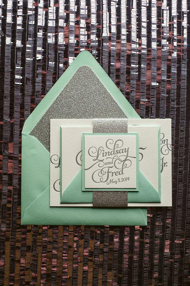 Mint & Silver Wedding Invitation, mint, silver wedding invitations, glitter, letterpress wedding invitations