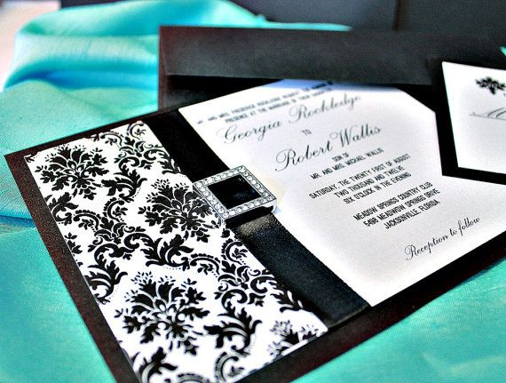 Megan Collection Customizable Black White Damask Invitations Set with Ribbon and Buckle for Classic Tiffany Wedding Theme DEPOSIT LISTING. $100.00, via Etsy.