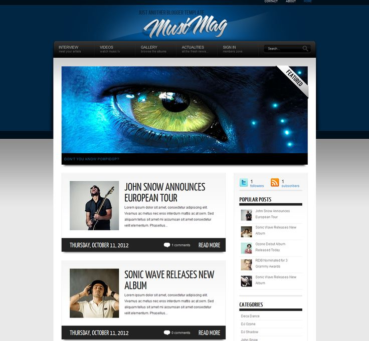 One of the best themes created for blogger.2columns design content slider and beautiful design  Here is green version : http://www.pinterest.com/pin/531565562240604806/
