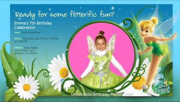 Tinker Bell Evite Invitation - They're free, fast and easy to make.  See Tutorial