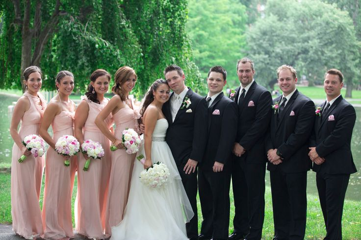 Pale Pink Bridesmaids Dresses and Black Groomsmen Tuxedos