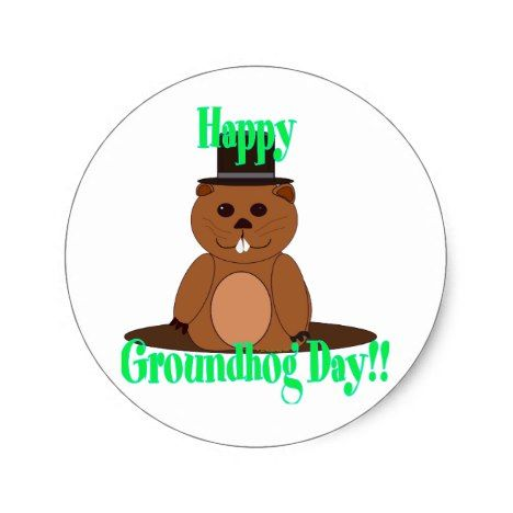Happy Groundhog Day! Classic Round Sticker #groundhogday