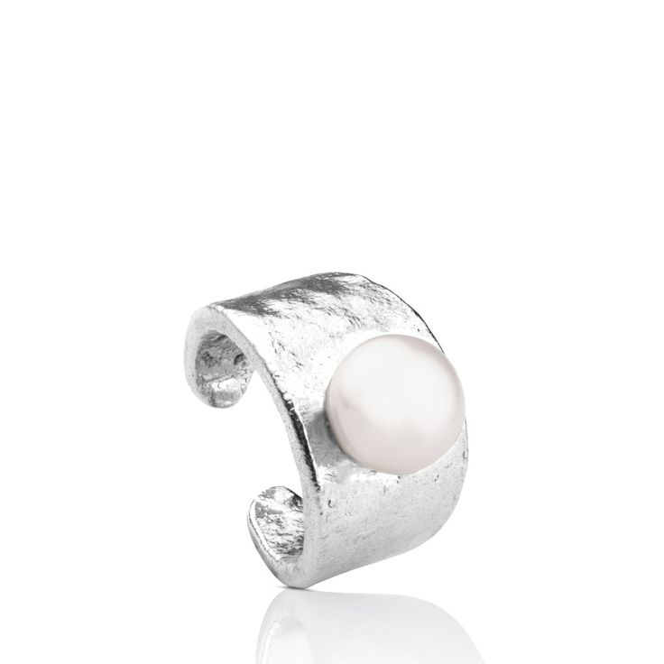 Śrebrny pierścionek z perłą Tous Silver Grit