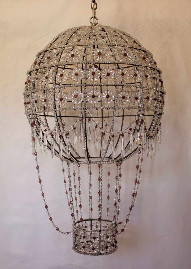 Hot Air Balloon Crystal Chandelier With Lavender Accents