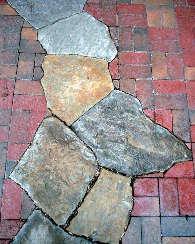 Flagstone & baksteen loopbrug
