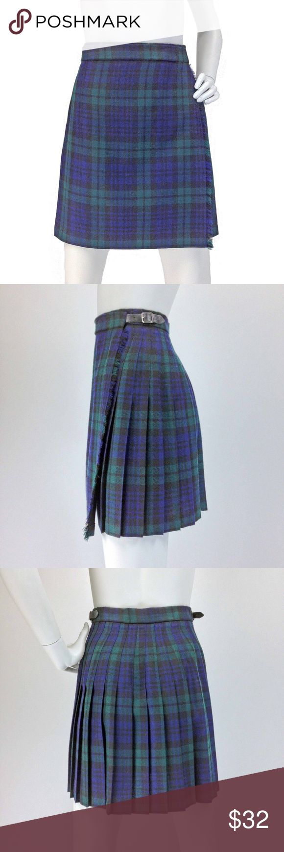 VINTAGE KILT | Blackwatch Plaid Pleated Skirt One of my faves! The classic vintage kilt by Highland Home in perfect Blackwatch plaid *-*!!  •Classic wrap construction •100% wool Blackwatch plaid (navy blue, dark green, black) •Pleated •Fringed edge •Black leather straps + silvertone metal buckles closure •Made in Scotland CONDITION: V good vtg condition with 2 tiny holes in back-not noticeable due to the pleats-see last pic.  •Waist:28-30 •Hips:Free  •Length:20  ☑️Top Rated Seller ☑️Fast…