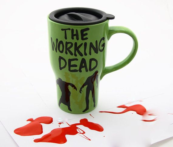 Ceramic travel mug The Working Dead zombies by LennyMud on Etsy, $20.00
