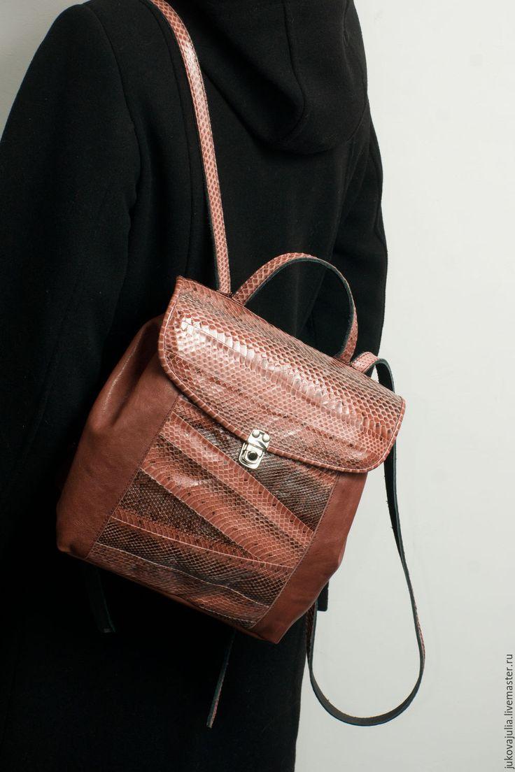 Купить Мини рюкзак портфель коричневый бордовый из натуральной кожи - бордовый, рюкзак, рюкзачек