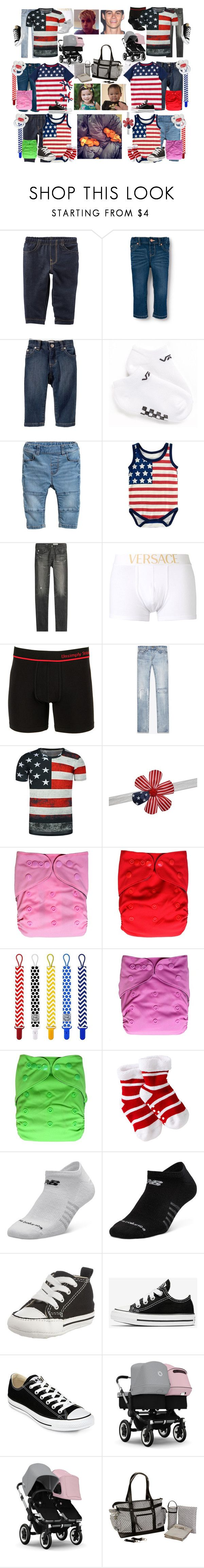 """""""The Horan-Stiles / 4th of July"""" by imaginaryfamilies ❤ liked on Polyvore featuring Old Navy, Vans, AG Adriano Goldschmied, Versace, Unsimply Stitched, Yves Saint Laurent, Transparente, New Balance, Converse and Kalencom"""