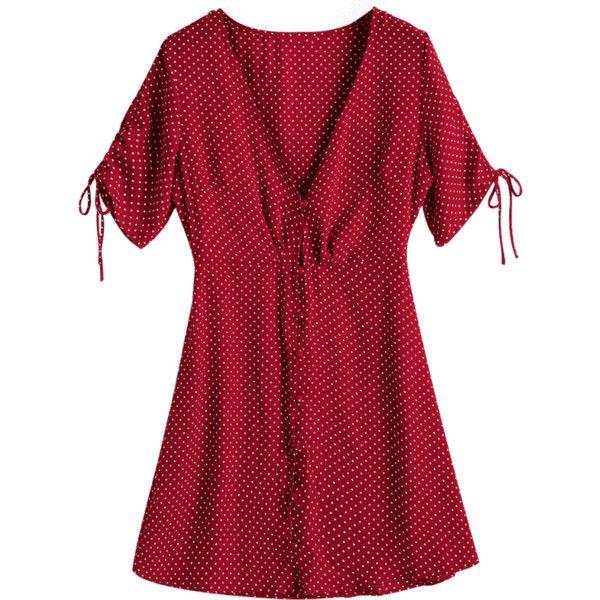 Button Up Chiffon Polka Dot Mini Dress Wine Red M ($22) ❤ liked on Polyvore featuring dresses, zaful, red polka dot dress, short chiffon dress, polka dot chiffon dress, chiffon mini dress and short dresses